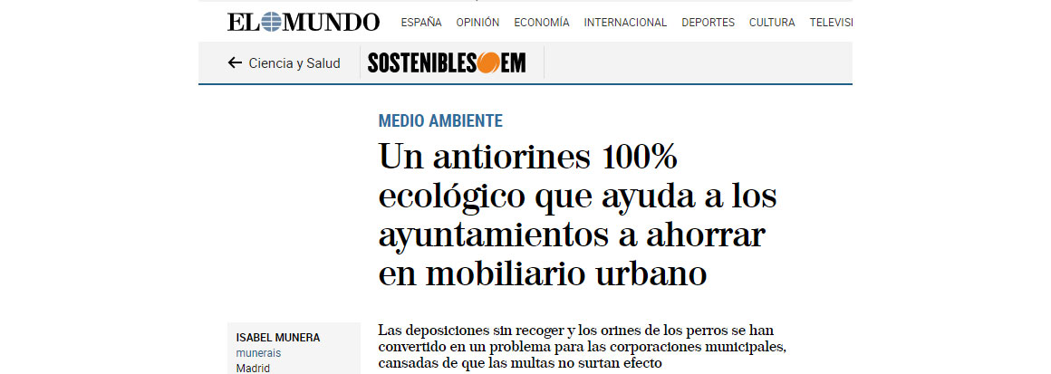 El mundo: Un antiorines 100% ecológico ayuda a los ayuntamientos a ahorrar en mobiliario urbano